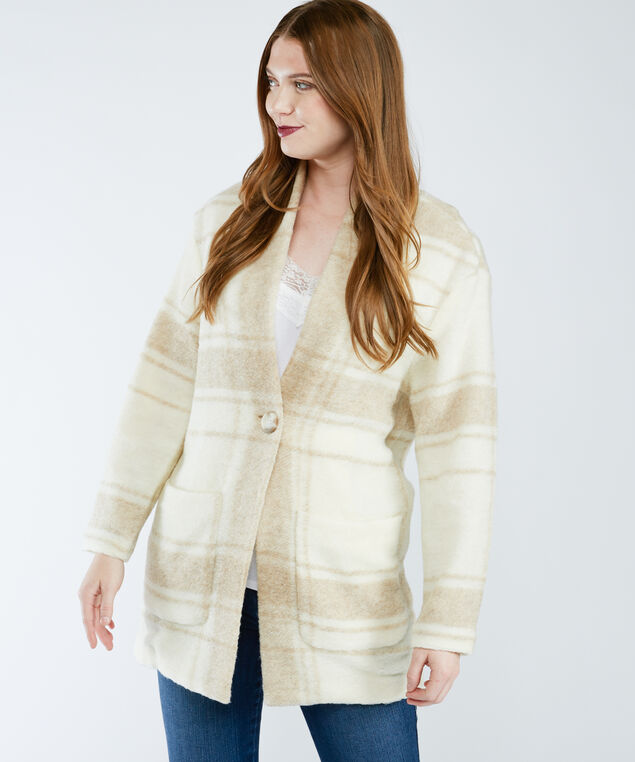 check cocoon coat, Neutral Pattern