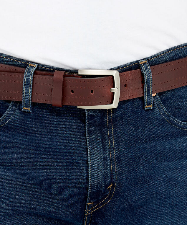 genuine leather belt, WINE, hi-res