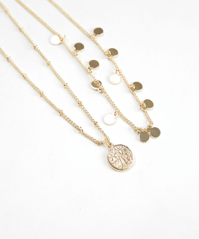 2 row pendant necklace, Gold