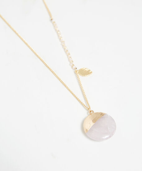 stone pendant leaf necklace, Gold, hi-res