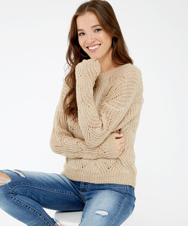 pointelle stitch popover - wb, Cream, hi-res