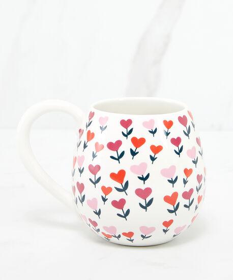 heart flower ceramic mug, White, hi-res