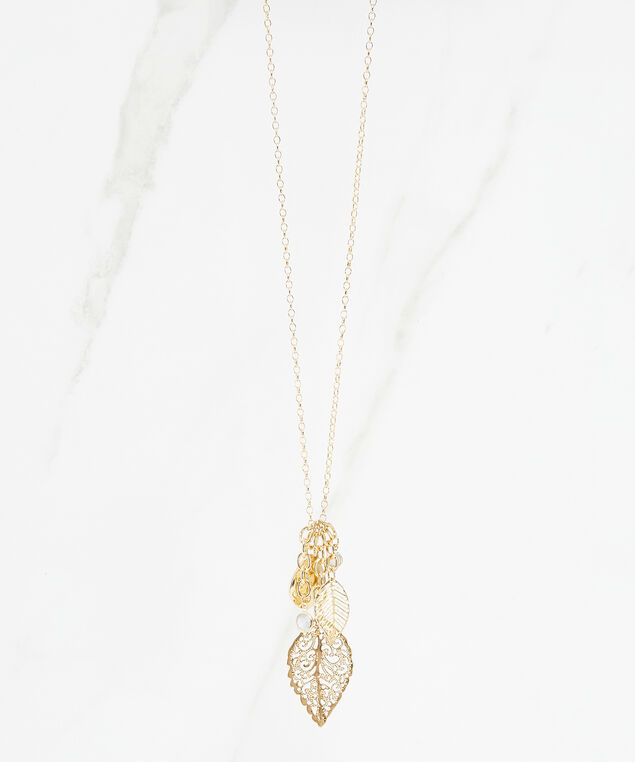 vintage leaf charm necklace, Gold, hi-res