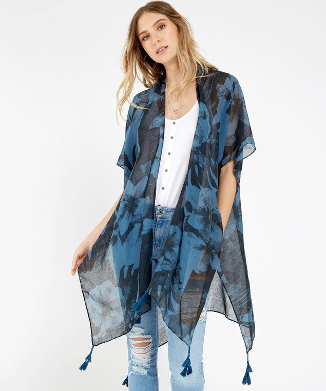 long floral print kimono, DARK BLUE, hi-res