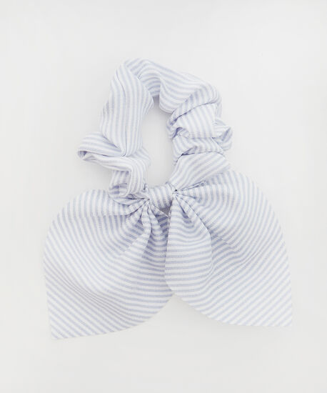 scrunchie with short tail - wb, BLUE STRIPE, hi-res