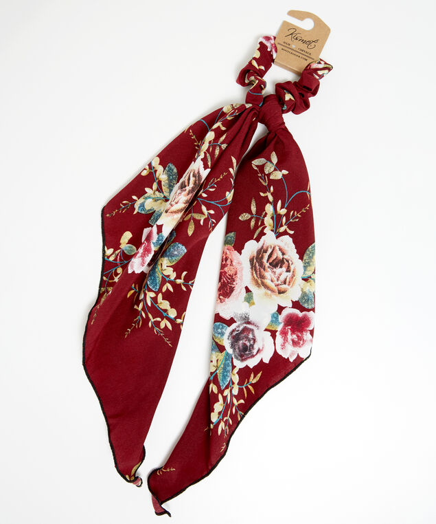 scrunchie with floral detail, Wine, hi-res
