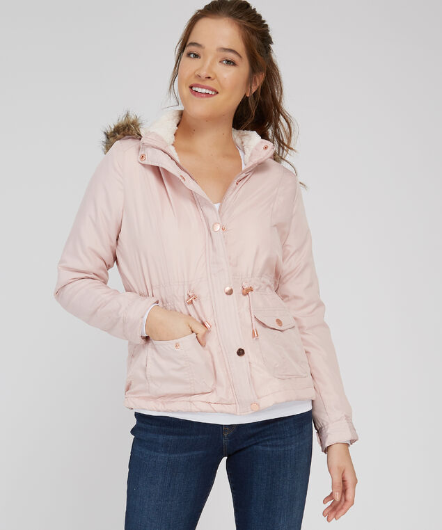 berber lined jacket with removable hood - wb, PINK, hi-res