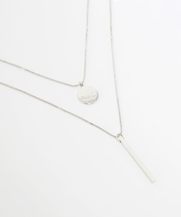 layered bar necklace, SILVER, hi-res