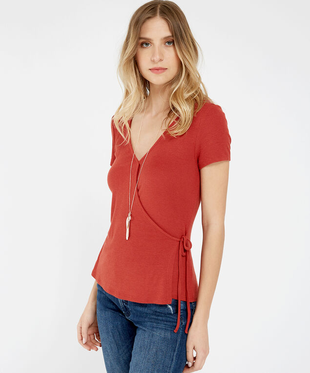 ribbed side tie tee - wb, BARN RED, hi-res