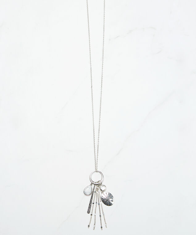 long charm necklace, Silver, hi-res