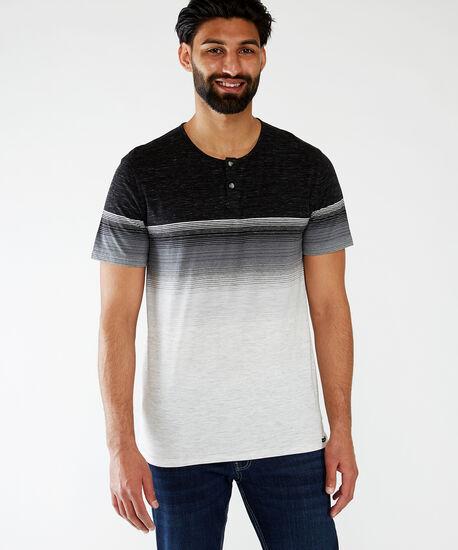 gradient stripe henley tee, Black, hi-res