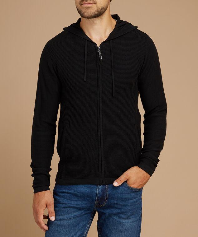 bob zip up sweater, BLACK, hi-res