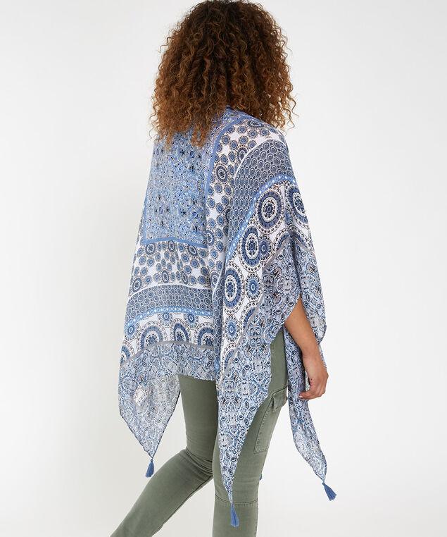 printed tassel kimono, GREY PRINT, hi-res