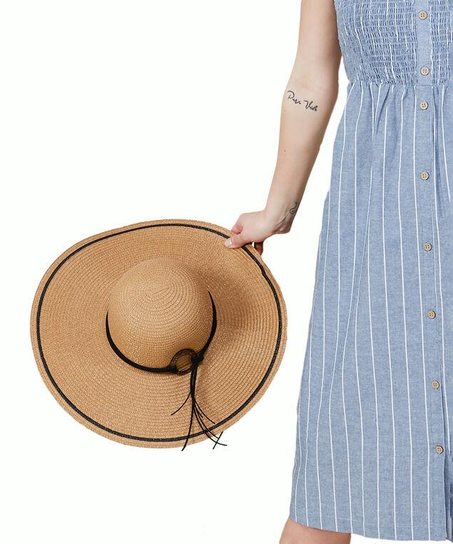floppy hat w/ wooden tie detail, Natural