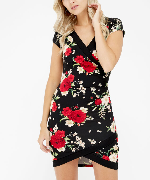 floral print dress - wb, black/red, hi-res