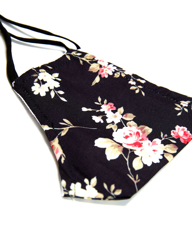 floral print face mask, Black Floral, hi-res