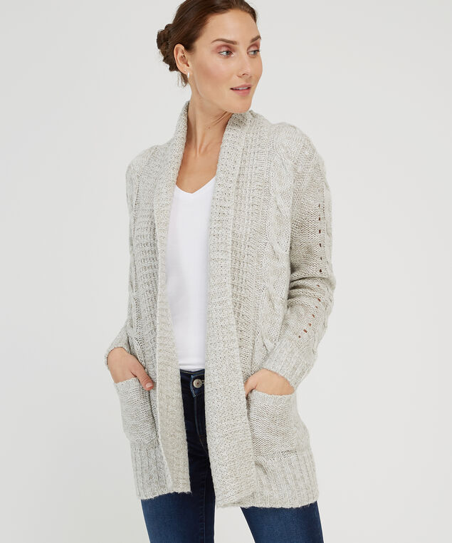 sweater cable cardi - wb, LIGHT GREY, hi-res