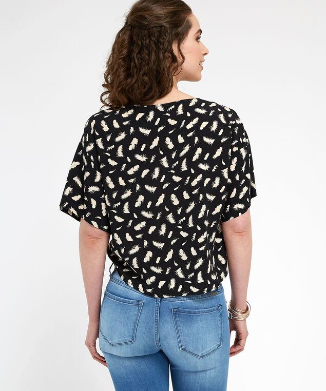 tie front kimono sleeve top - wb, BLACK/SAND, hi-res
