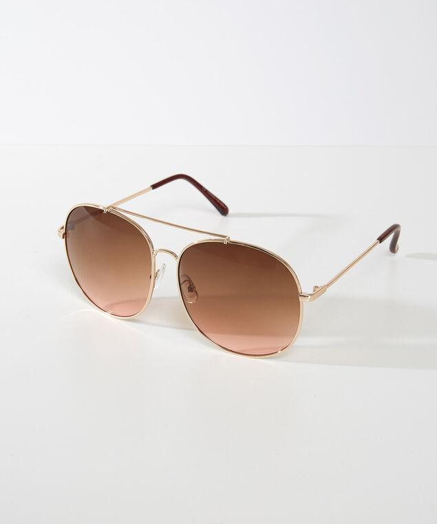 oversized aviator sunglasses, Gold, hi-res