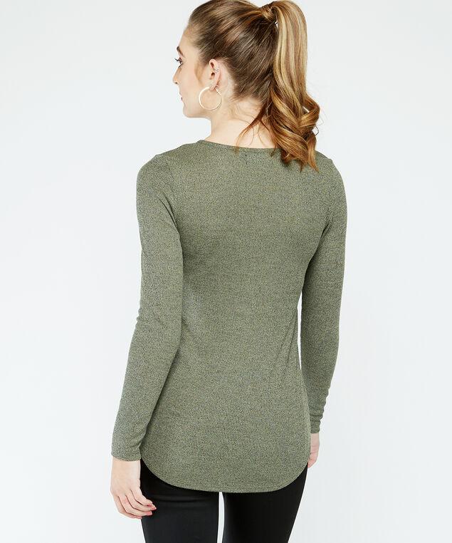 zipper neck top -wb, Khaki, hi-res