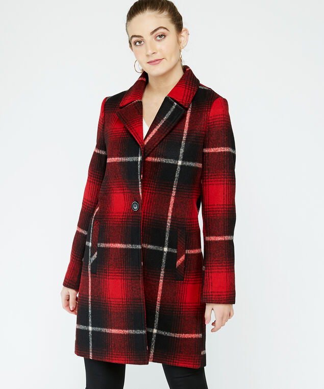 plaid coat - wb, red plaid
