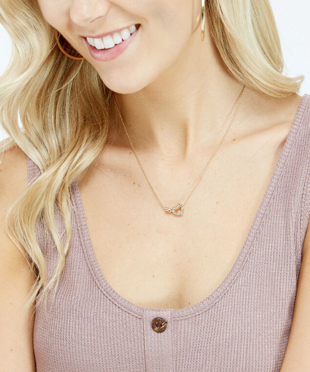 2 heart motif necklace, Gold, hi-res