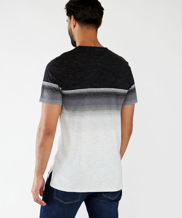 gradient stripe henley tee, Black