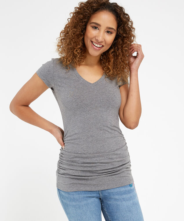 jenny ruched tee, MEDIUM GREY MEL, hi-res