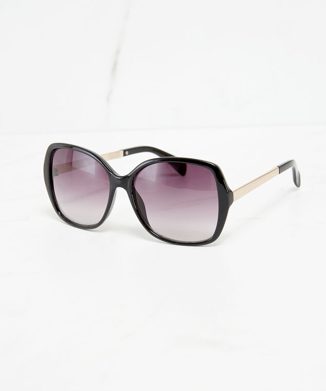 oversized sunglasses with metal arm, Black, hi-res