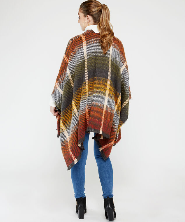 plaid poncho with frayed edge, Rust, hi-res