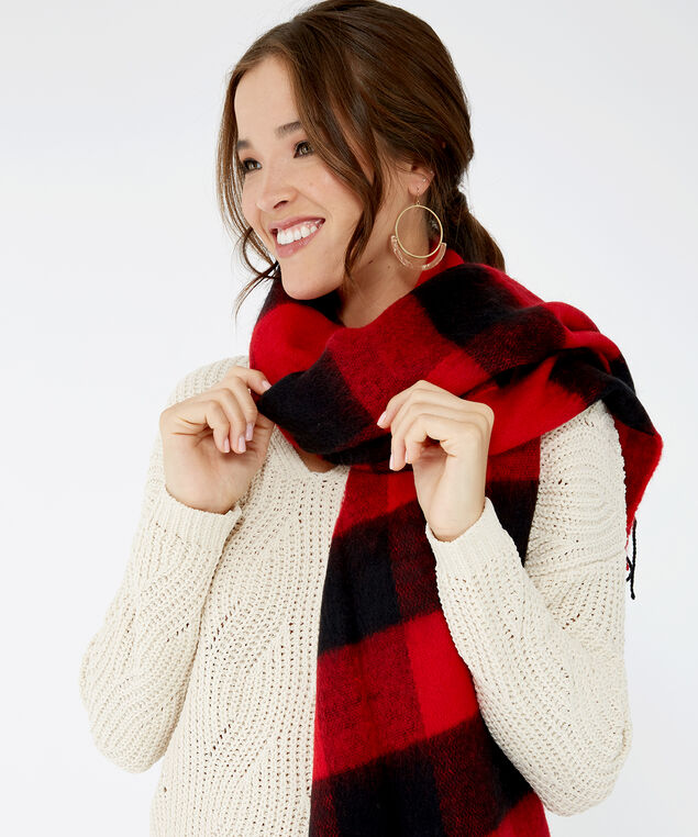 buffalo check blanket scarf, Red Print, hi-res