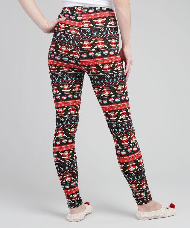 santa printed legging, BLACK/RED, hi-res