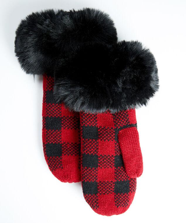 women's buffalo plaid mitten, Red Pt