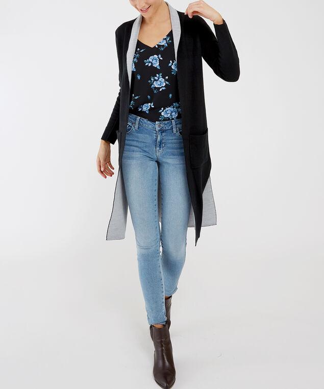 contrast cardigan - wb, Black, hi-res