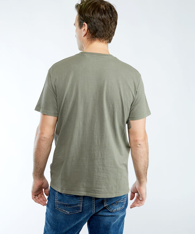 short sleeve crew neck logo tee, Olive