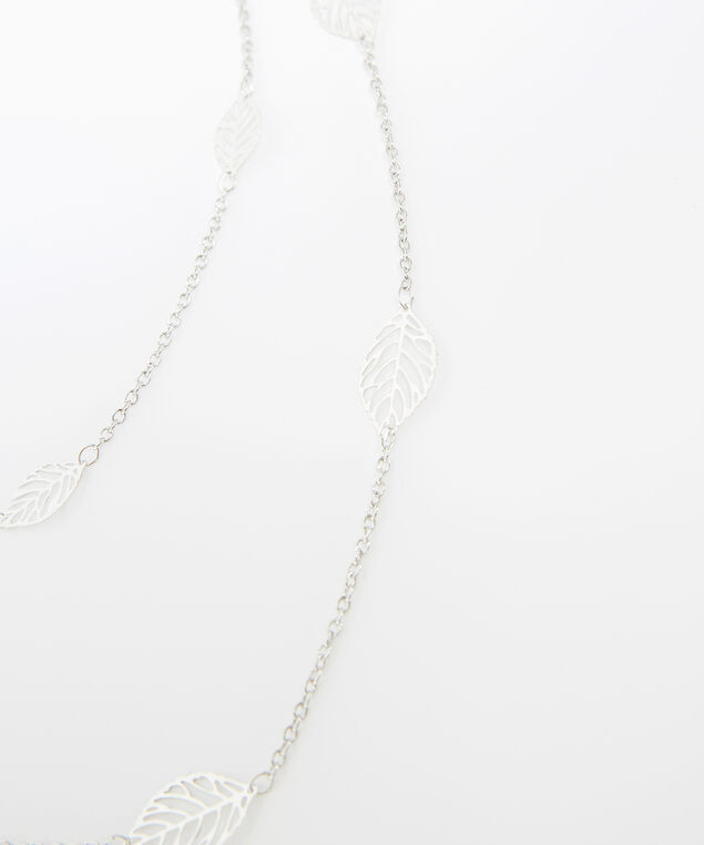 double layer leaf necklace, SILVER, hi-res