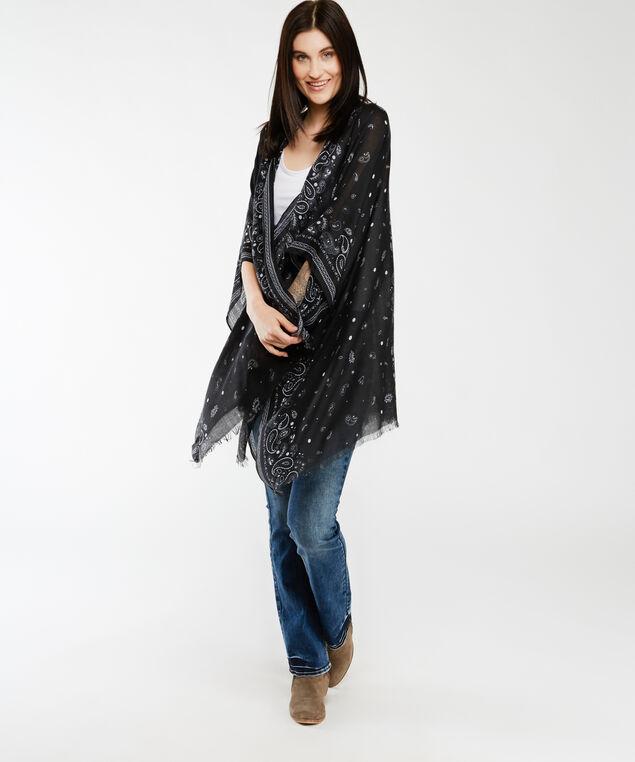 paisley print kimono, Black