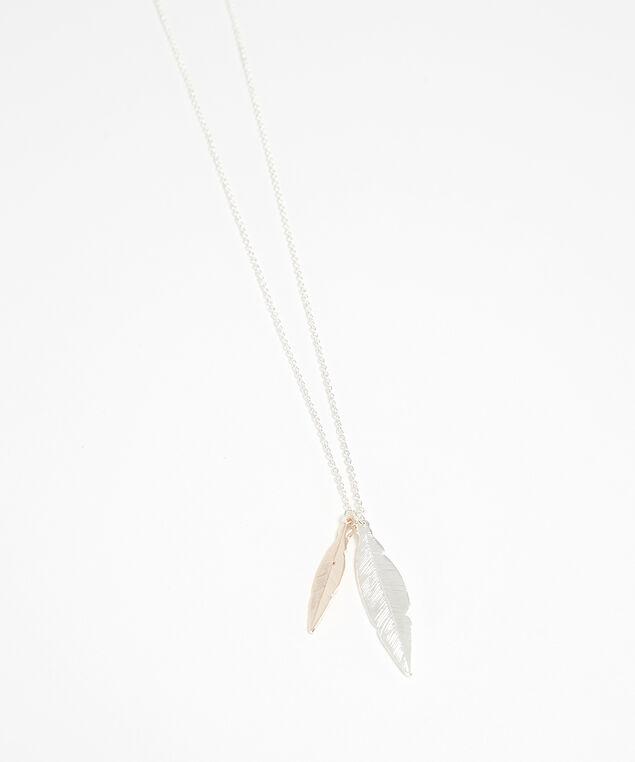 leaf necklace, SILVER, hi-res