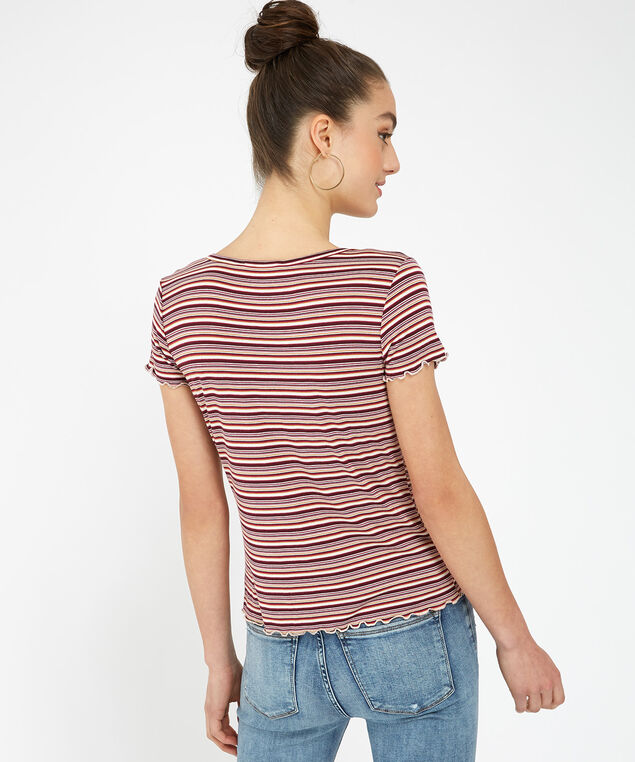 button front tee - wb, STRIPE, hi-res