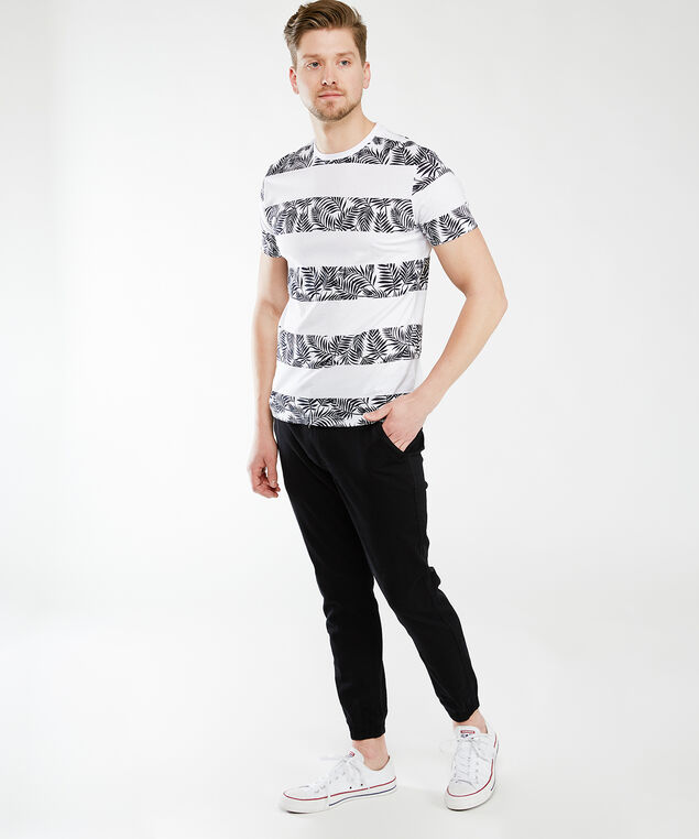 palm stripe tee, White Black Print