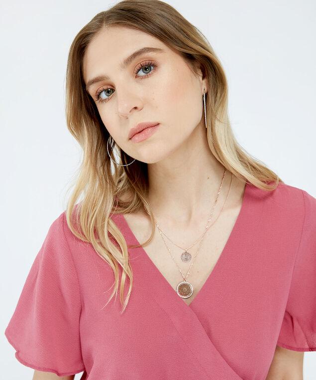 double strand pendant necklace, ROSE, hi-res