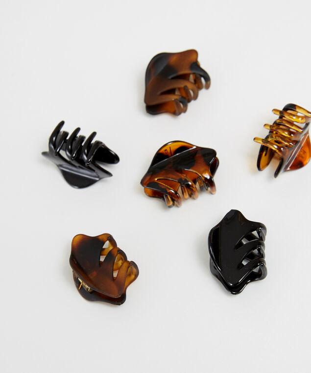 6 pack of hair clips, BROWN, hi-res