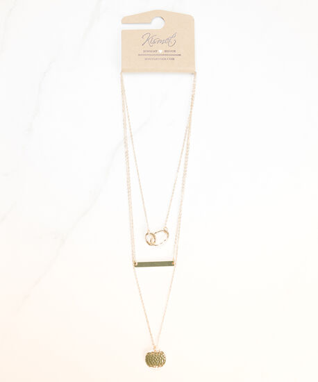 layered pendant necklace, Gold, hi-res