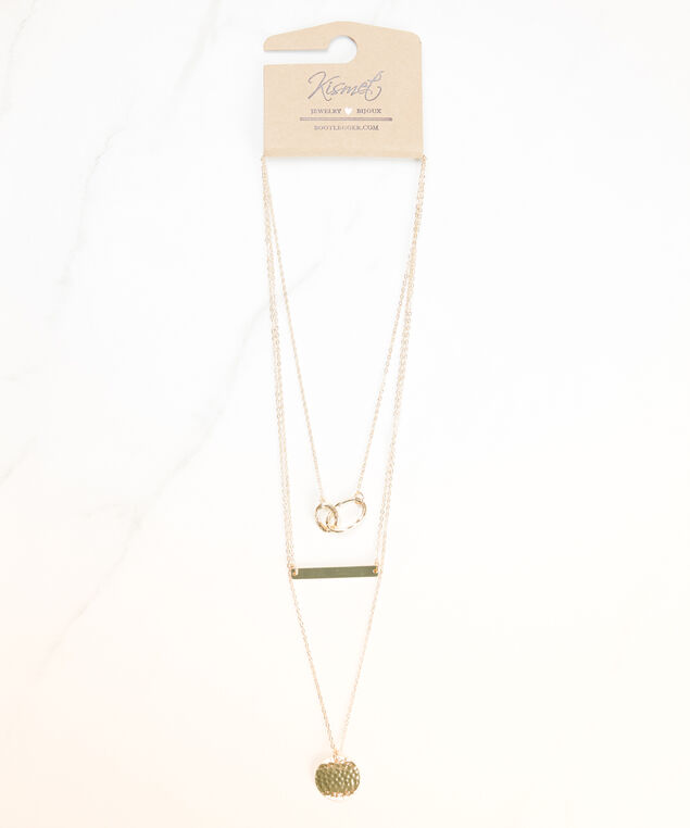 layered pendant necklace, Gold
