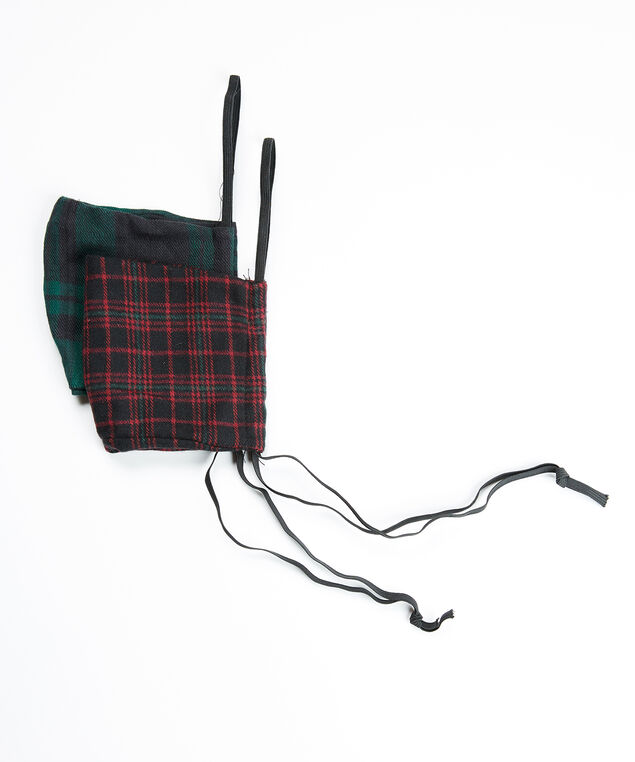 2 pack woven plaid face masks, Multi
