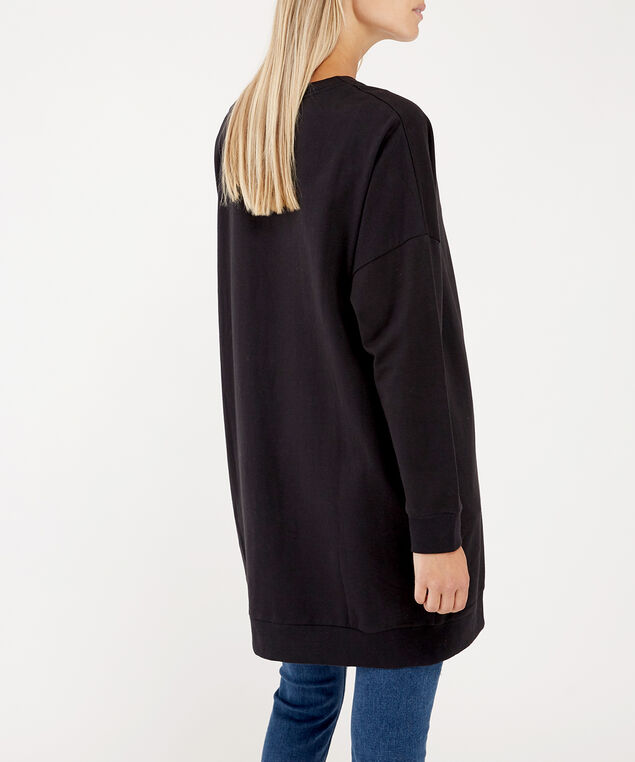 fleece cardigan - wb, BLACK, hi-res