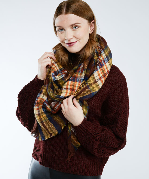 plaid triangle scarf, Red Pt