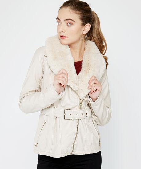 belted pu jacket, Pearl, hi-res