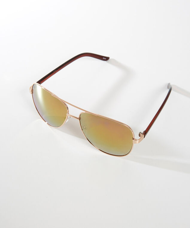 mirrored lens sunglasses, GOLD, hi-res