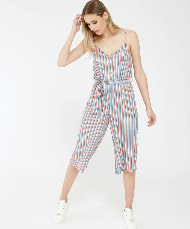 stripe button down jumpsuit - wb, BLUE WHITE STRIPE, hi-res